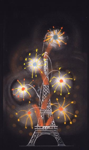 Illuminations de la tour Eiffel et feux d'artifice, Exposition internationale des arts et des techniques, Paris 7e, 1935-1937